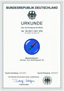 Markenurkunde der Unternehmensberatung Axel Schröder