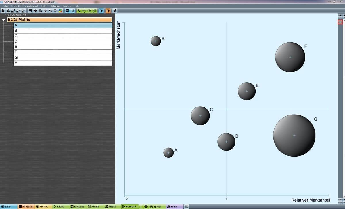 BCG-Matrix mit meineZiele