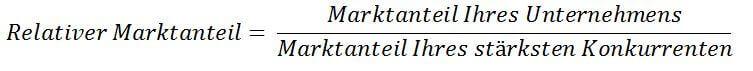 Berechnung relativer Marktanteil BCG Matrix