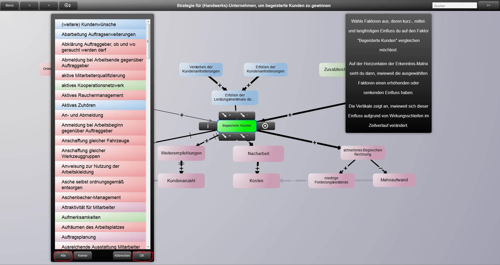 iModeler und Kano Modell - Auswahl der Faktoren