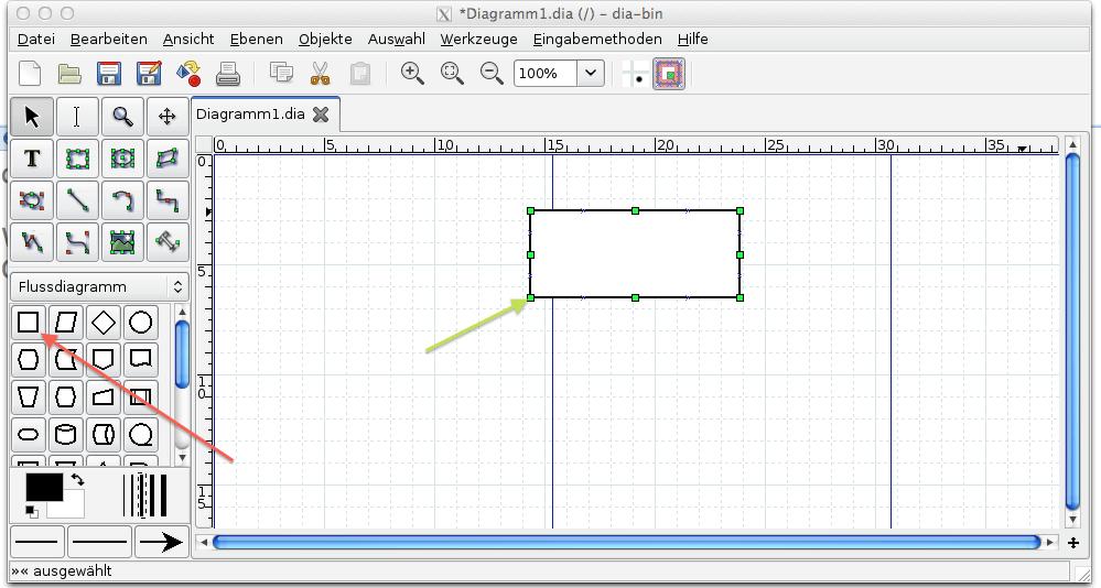 Abbildung 4, Dia Element auswählen und zeichnen