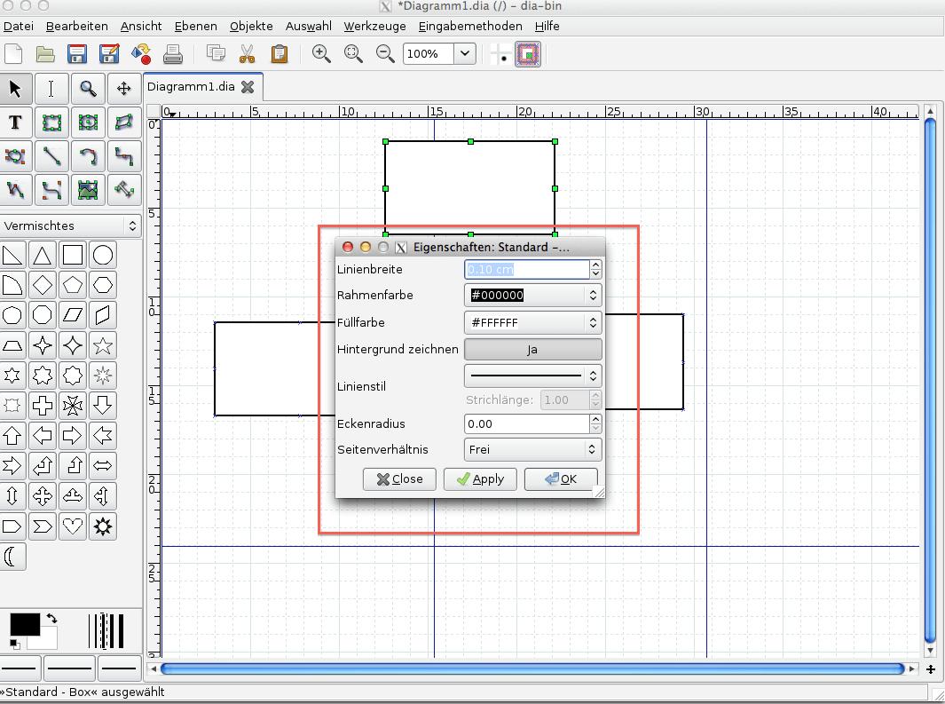 Abbildung 9, Dia Menü für Objektformatierung