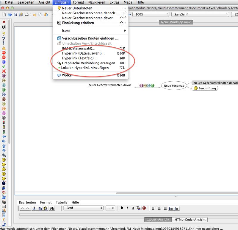 FreeMind Abbildung 12, Einfügen von Hyperlinks