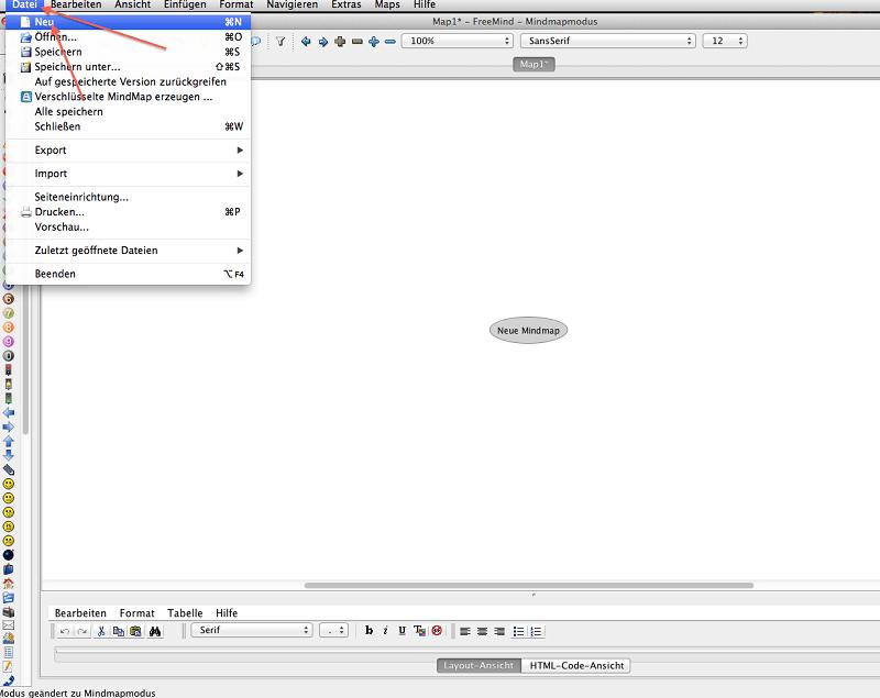 FreeMind Abbildung 2, neue Datei