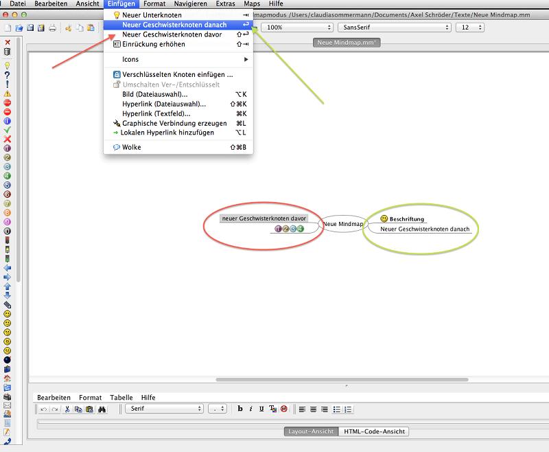 FreeMind Abbildung 5, Knoten auf der selben Ebene einfügen