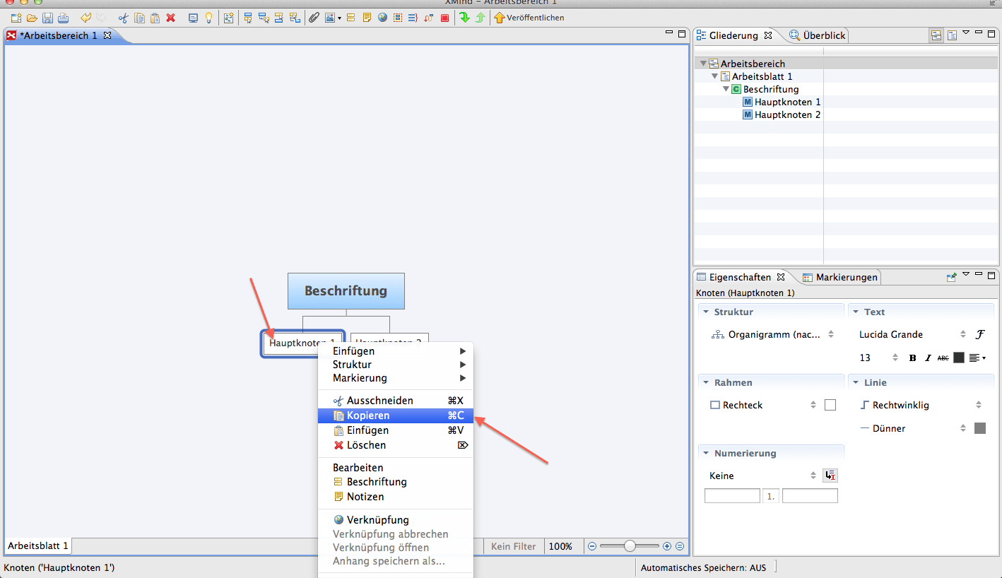 XMind Abbildung 10, Elemente kopieren