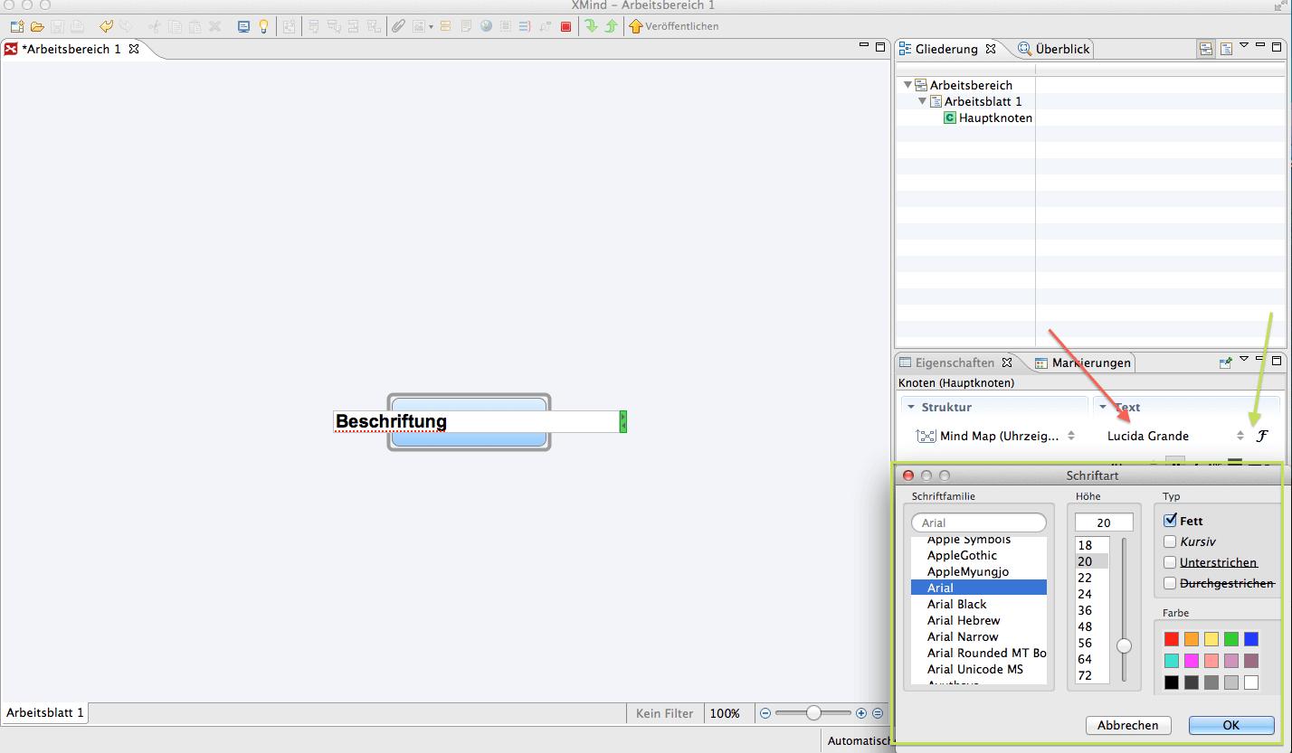 XMind Abbildung 6, Textformatierung