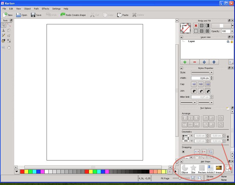 Calligra Abbildung 3, Menü Objekte