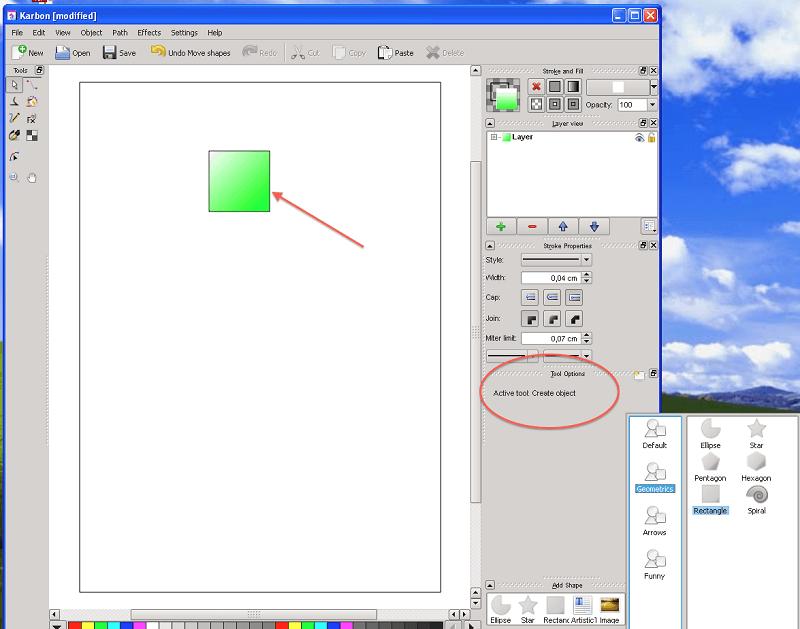 Calligra Abbildung 5, Zeichnen eines Objekts