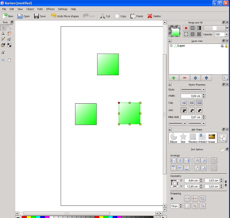 Calligra Abbildung 6, mehrere Objekte