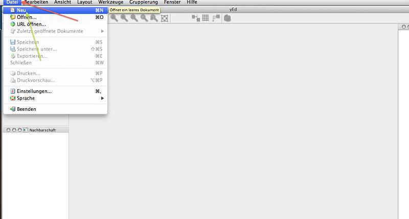 yED Abbildung 2, neue Datei über Menü