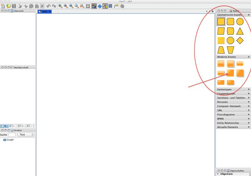 yED Abbildung 3, Knoten auswählen