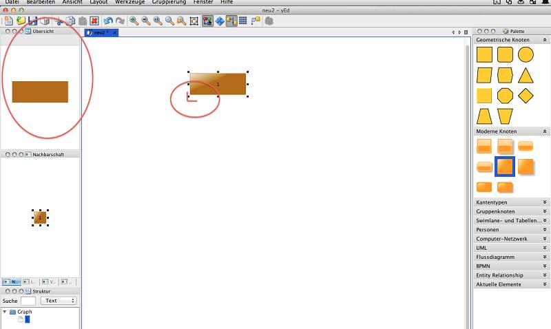 yED Abbildung 4, Knoten zeichnen