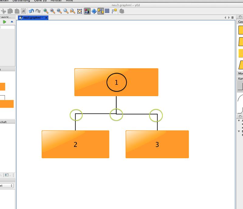 yED Abbildung 7, Verbindungslinie zeichnen