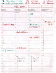 Schriftlich geführter Kalender