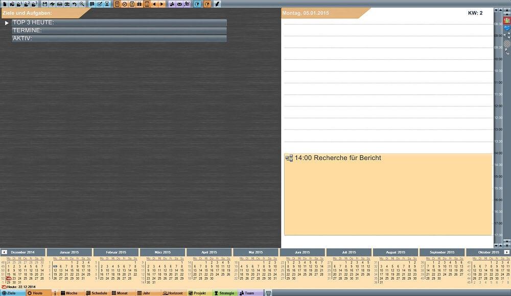 meineZiele Beispiel für Tagesplanung