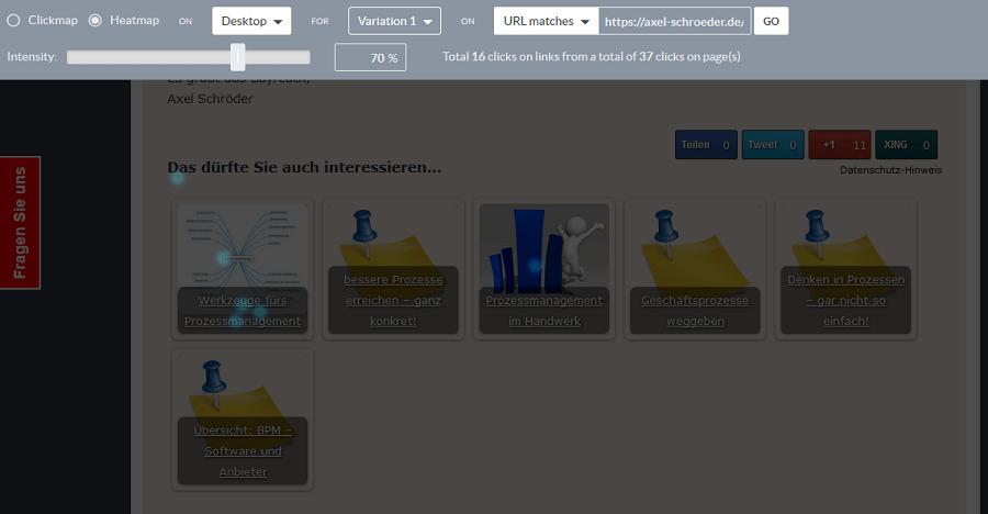 Clickmap der Testseite 2