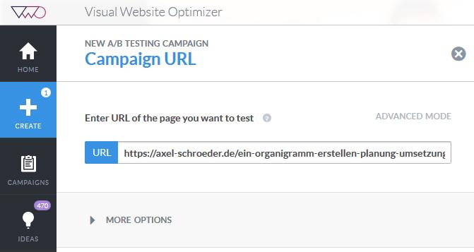 URL des Testobjektes festlegen