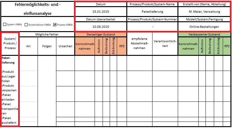 FMEA Excel Vorlage Anleitung Schritt 1