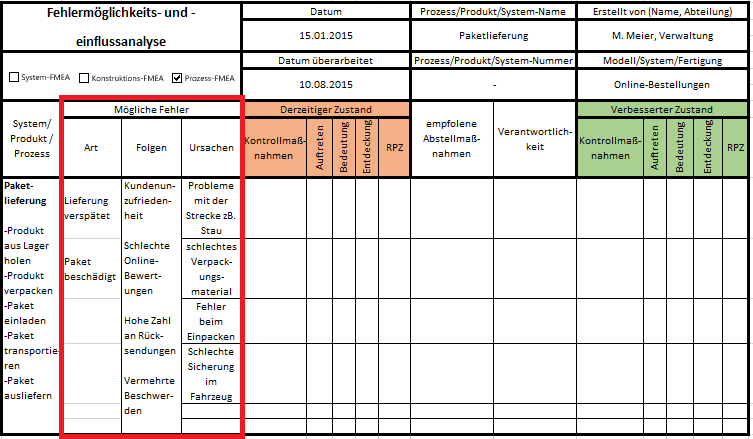FMEA Excel Vorlage Anleitung Schritt 2