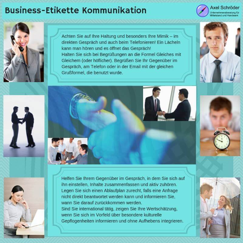 Infografik Business-Etikette Kommunikation