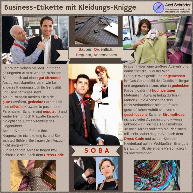 Infografik Business-Etikette mit Kleidungs-Knigge