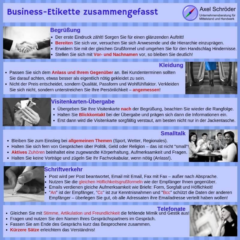 Infografik Business-Etikette zusammengefasst