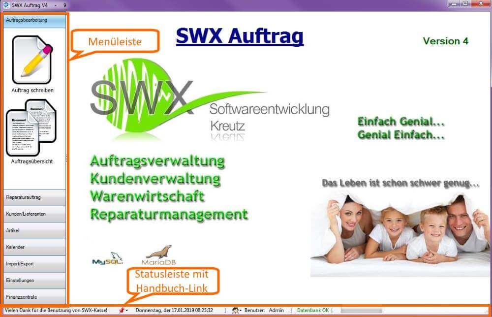 1 Startbildschirm SWX-Auftrag