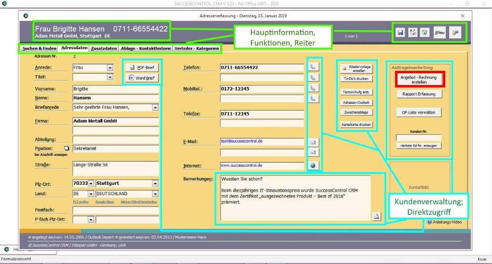 Kundendaten mit Belegerstellung SuccessControl