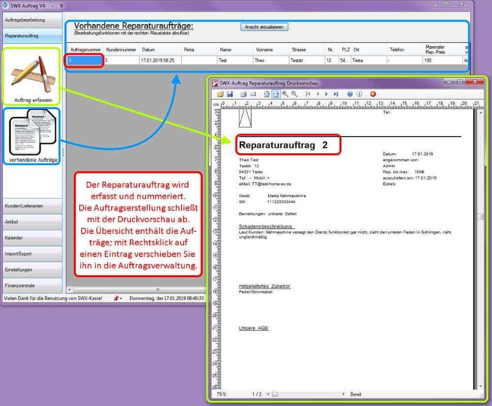 4 Reparaturübersicht mit Vorschau SWX-Auftrag