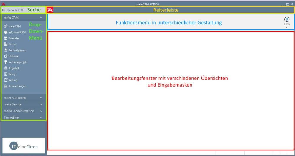 Startbildschirm meinCRM