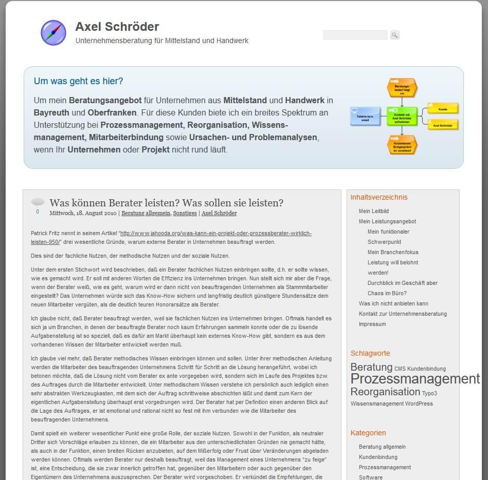 Aussehen der Seite axel-schroeder.de im Jahr 2010