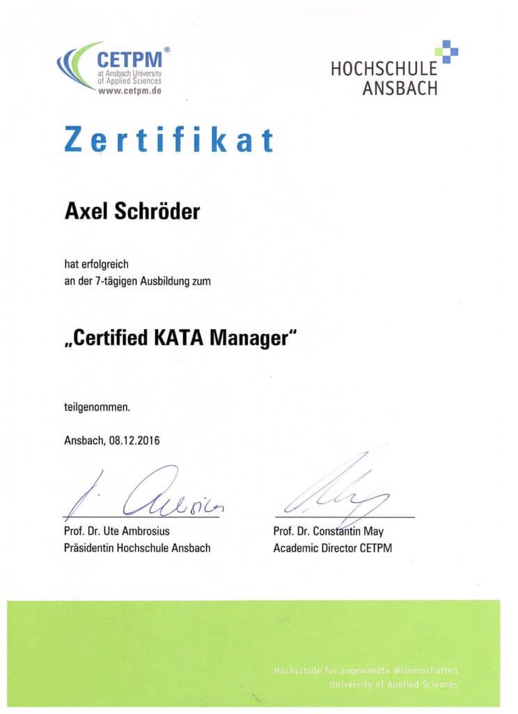 Axel Schröder ist Certified Lean Kata-Manager