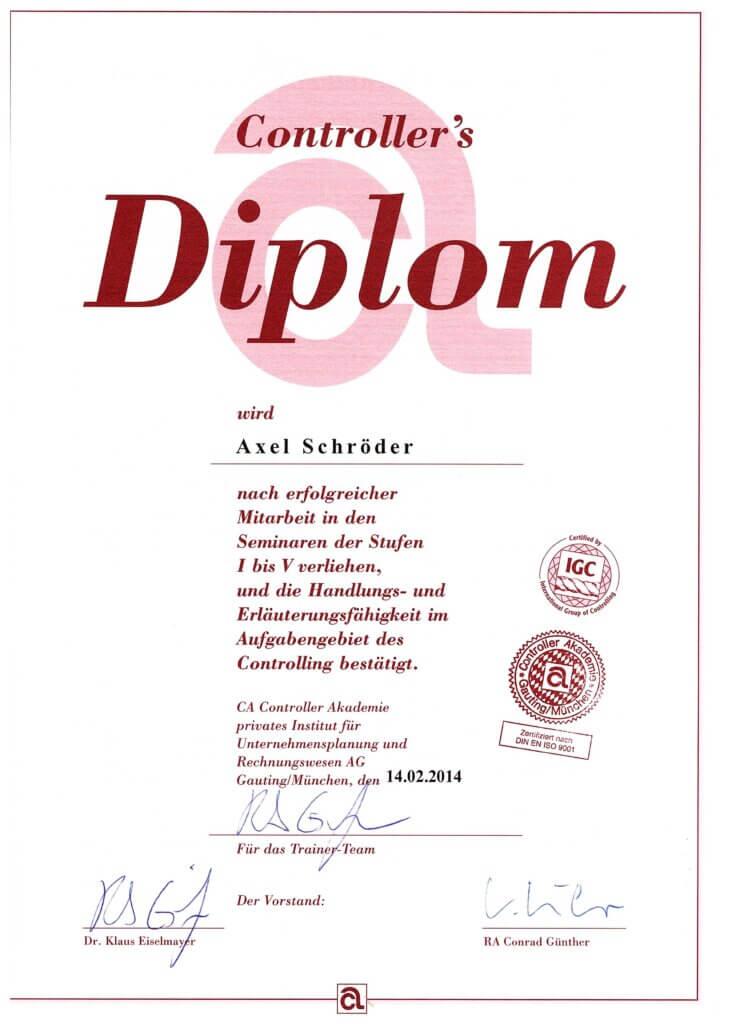 Controller-Diplom für Axel Schröder