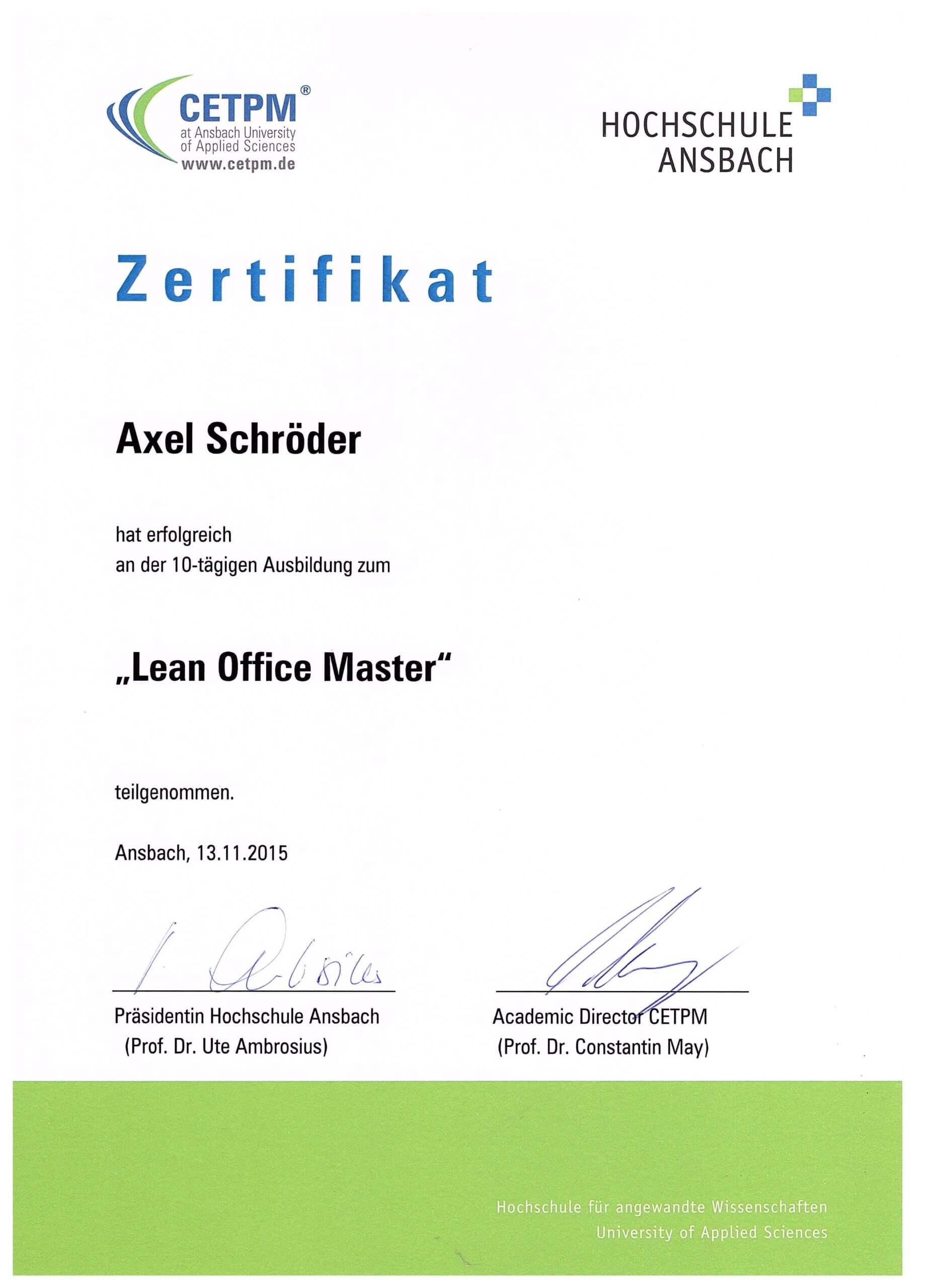 Axel Schröder ist Lean Office Master