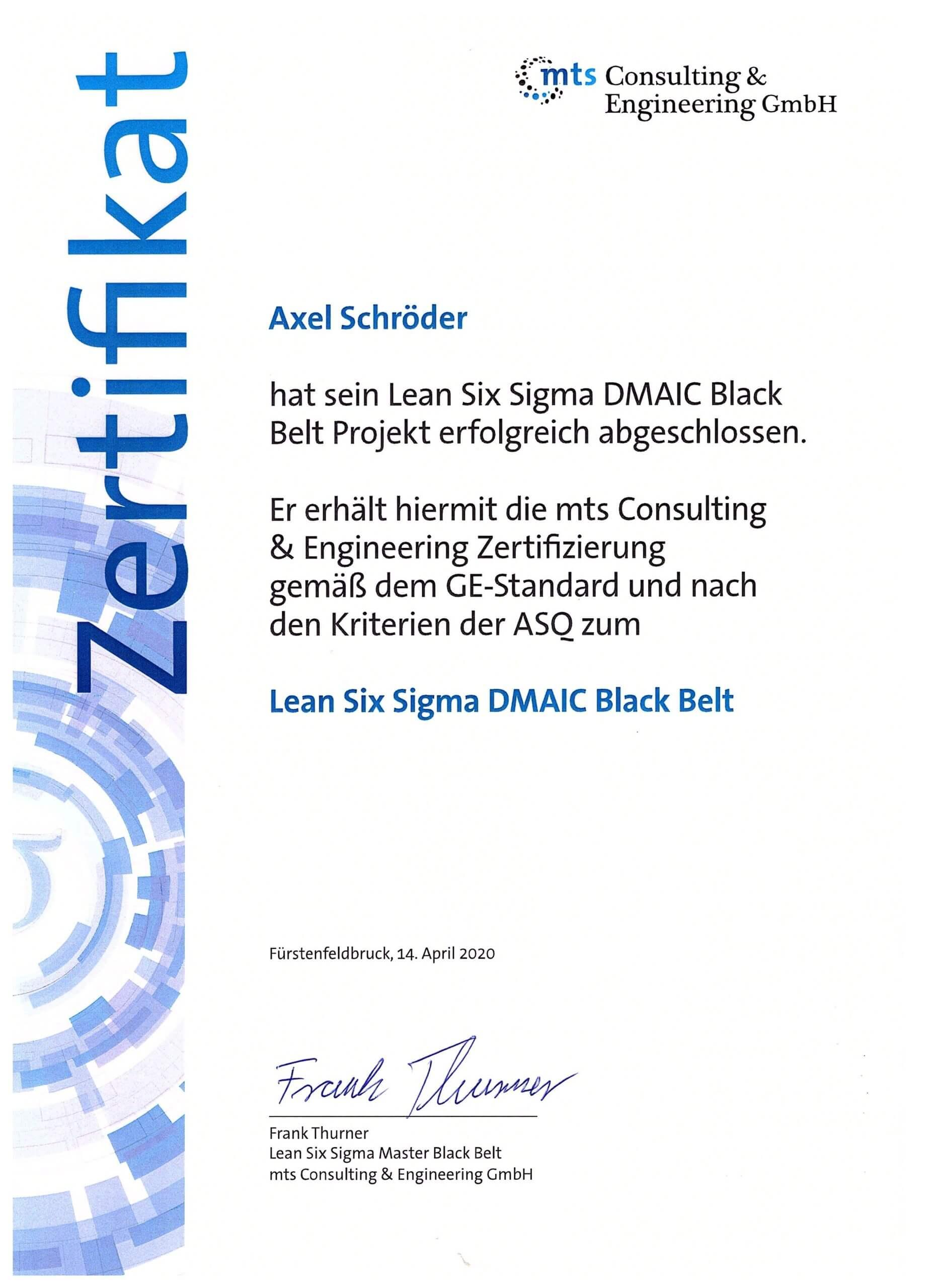 Axel Schröder ist Lean Six Sigma Black Belt