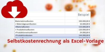 Selbstkostenrechnung Excel-Vorlage Downloadvorschau